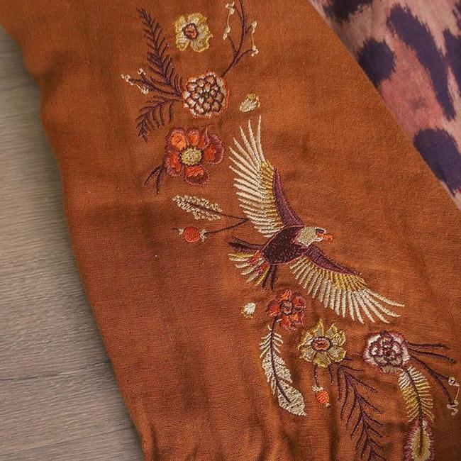 Chasing Rivers eagle embroidery design by Tegan Swyny of Colour Cult. Textile design Brisbane, Australia.